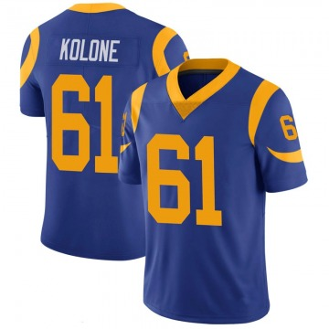 Youth Nike Los Angeles Rams Jeremiah Kolone Royal 100th Vapor Jersey - Limited
