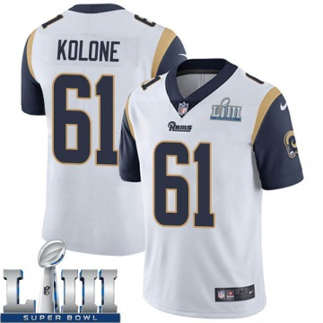 Youth Nike Los Angeles Rams Jeremiah Kolone White Super Bowl LIII Bound Vapor Untouchable Jersey - Limited
