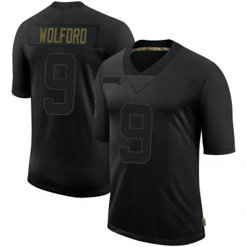 Youth Nike Los Angeles Rams John Wolford Black 2020 Salute To Service Jersey - Limited