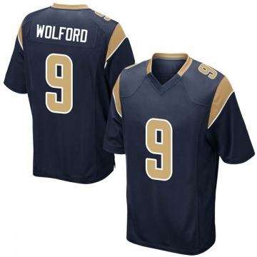 Youth Nike Los Angeles Rams John Wolford Navy Team Color Jersey - Game