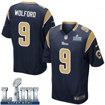 Youth Nike Los Angeles Rams John Wolford Navy Team Color Super Bowl LIII Bound Jersey - Game