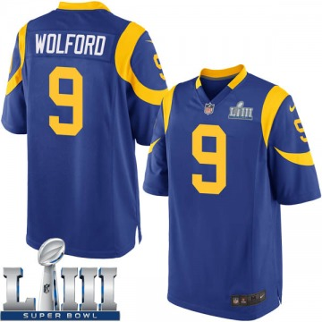 Youth Nike Los Angeles Rams John Wolford Royal Alternate Super Bowl LIII Bound Jersey - Game