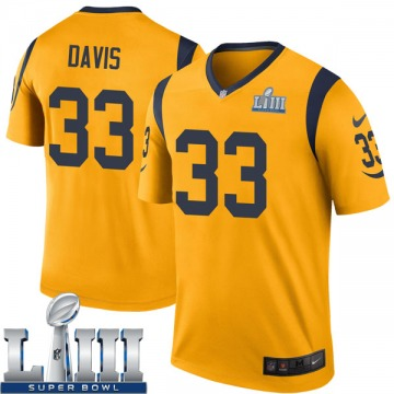 Youth Nike Los Angeles Rams Justin Davis Gold Color Rush Super Bowl LIII Bound Jersey - Legend