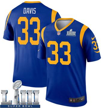 Youth Nike Los Angeles Rams Justin Davis Royal Super Bowl LIII Bound Jersey - Legend