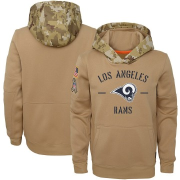 Youth Nike Los Angeles Rams Khaki 2019 Salute to Service Therma Pullover Hoodie -