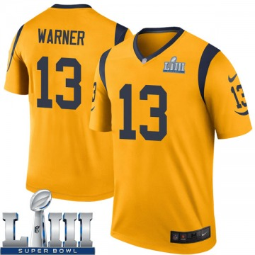 Youth Nike Los Angeles Rams Kurt Warner Gold Color Rush Super Bowl LIII Bound Jersey - Legend