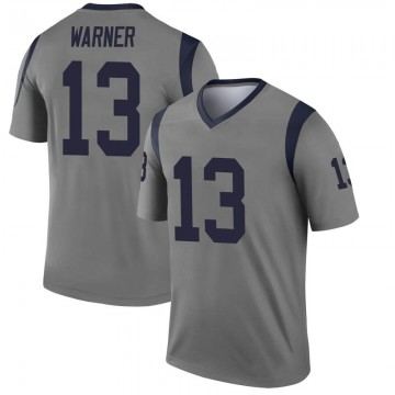 Youth Nike Los Angeles Rams Kurt Warner Gray Inverted Jersey - Legend