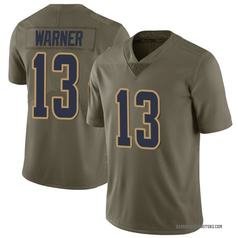 low priced 52c6d 63f30 Youth Nike Los Angeles Rams Kurt Warner Green 2017 Salute to Service Jersey  - Limited