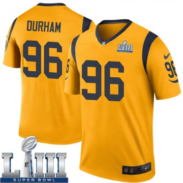 Youth Nike Los Angeles Rams Landis Durham Gold Color Rush Super Bowl LIII Bound Jersey - Legend