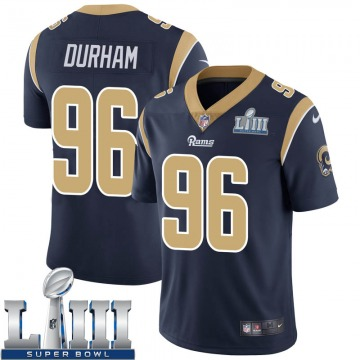 Youth Nike Los Angeles Rams Landis Durham Navy Team Color Super Bowl LIII Bound Vapor Untouchable Jersey - Limited