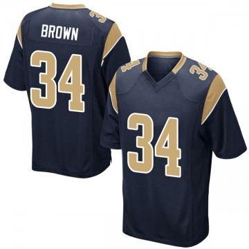 Youth Nike Los Angeles Rams Malcolm Brown Brown Navy Team Color Jersey - Game