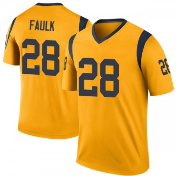 Youth Nike Los Angeles Rams Marshall Faulk Gold Color Rush Jersey - Legend