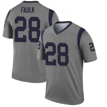 Youth Nike Los Angeles Rams Marshall Faulk Gray Inverted Jersey - Legend