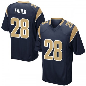 Youth Nike Los Angeles Rams Marshall Faulk Navy Team Color Jersey - Game