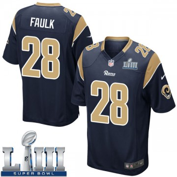 Youth Nike Los Angeles Rams Marshall Faulk Navy Team Color Super Bowl LIII Bound Jersey - Game