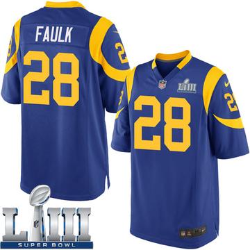 Youth Nike Los Angeles Rams Marshall Faulk Royal Alternate Super Bowl LIII Bound Jersey - Game