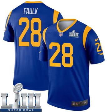 Youth Nike Los Angeles Rams Marshall Faulk Royal Super Bowl LIII Bound Jersey - Legend