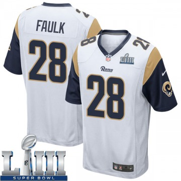 Youth Nike Los Angeles Rams Marshall Faulk White Super Bowl LIII Bound Jersey - Game