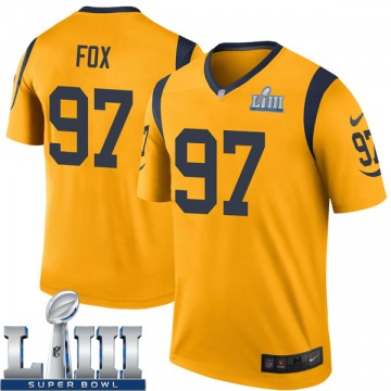 Youth Nike Los Angeles Rams Morgan Fox Gold Color Rush Super Bowl LIII Bound Jersey - Legend