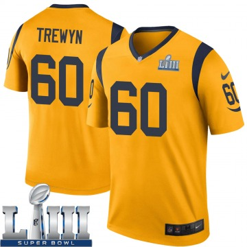 Youth Nike Los Angeles Rams Nate Trewyn Gold Color Rush Super Bowl LIII Bound Jersey - Legend