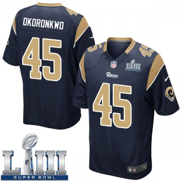 Youth Nike Los Angeles Rams Ogbonnia Okoronkwo Navy Team Color Super Bowl LIII Bound Jersey - Game