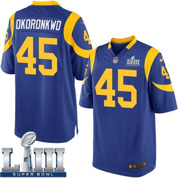 Youth Nike Los Angeles Rams Ogbonnia Okoronkwo Royal Alternate Super Bowl LIII Bound Jersey - Game