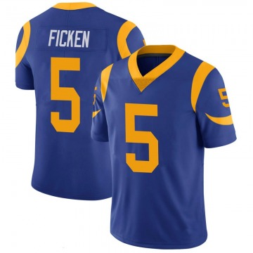 Youth Nike Los Angeles Rams Sam Ficken Royal 100th Vapor Jersey - Limited