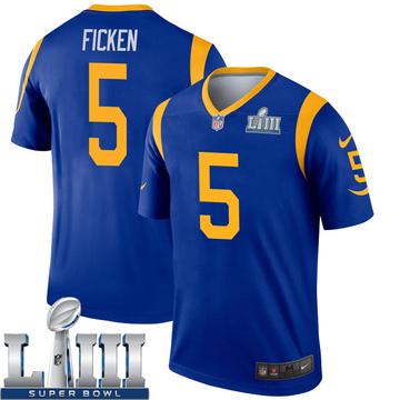 Youth Nike Los Angeles Rams Sam Ficken Royal Super Bowl LIII Bound Jersey - Legend