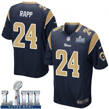 Youth Nike Los Angeles Rams Taylor Rapp Navy Team Color Super Bowl LIII Bound Jersey - Game