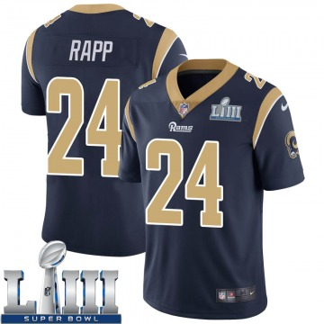 Youth Nike Los Angeles Rams Taylor Rapp Navy Team Color Super Bowl LIII Bound Vapor Untouchable Jersey - Limited