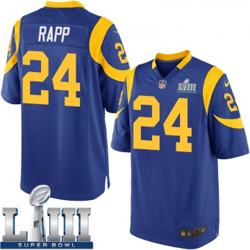 Youth Nike Los Angeles Rams Taylor Rapp Royal Alternate Super Bowl LIII Bound Jersey - Game